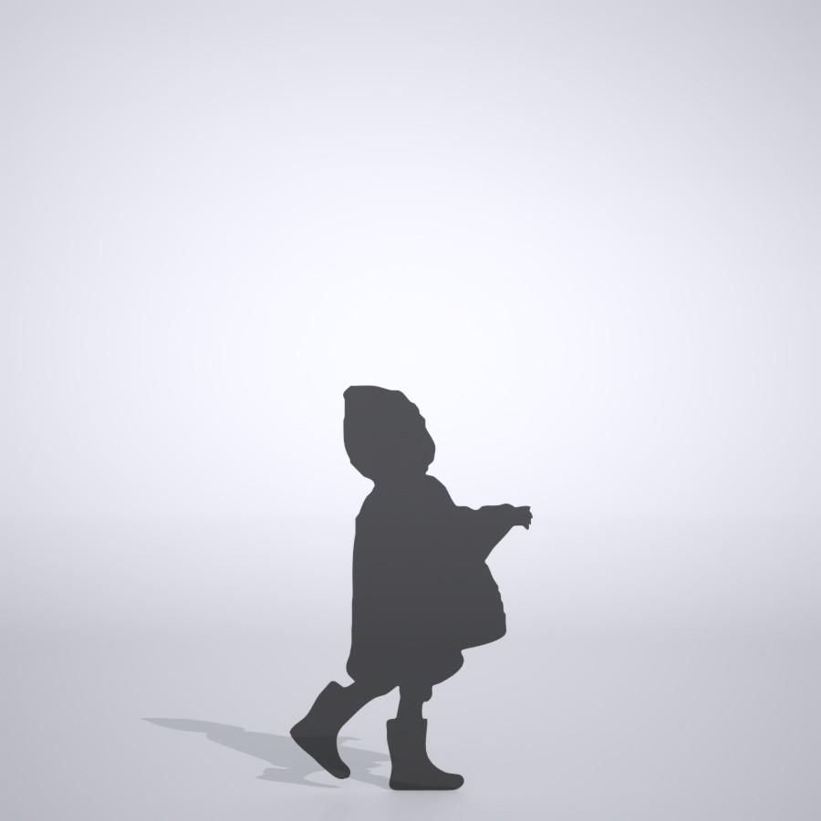 雨合羽を着て 長靴を履いた女の子の3DCAD素材丨シルエット 人間 子供丨無料 商用可能 フリー素材 フリーデータ丨データ形式はformZ ・3ds・objファイルです