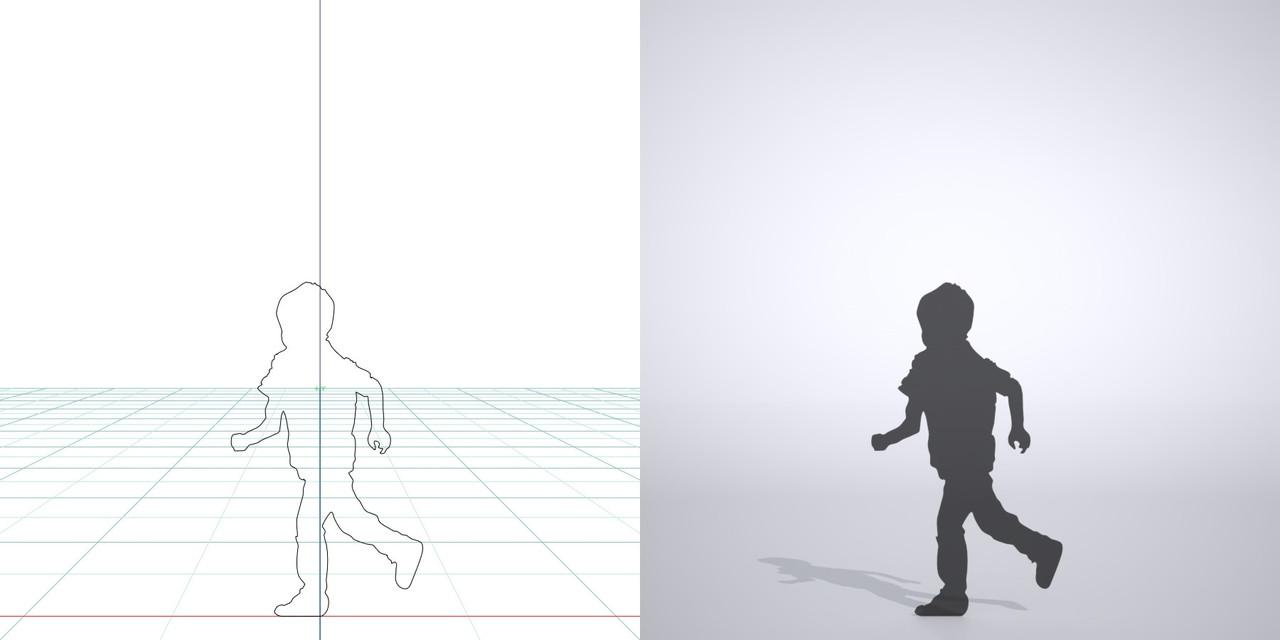 走る男の子の3DCAD素材丨シルエット 人間 子供丨無料 商用可能 フリー素材 フリーデータ丨データ形式はformZ ・3ds・objファイルです
