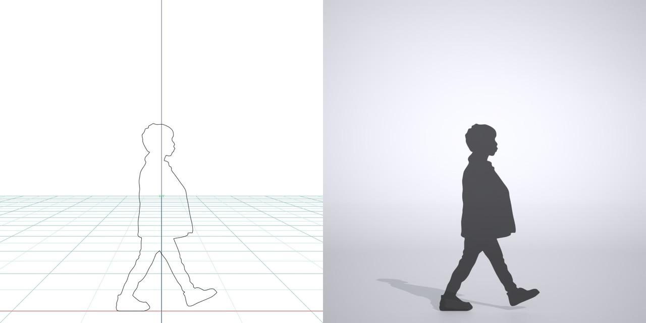 靴笛を吹きながら歩く ジャケットを着た男の子の3DCAD素材丨シルエット 人間 子供丨無料 商用可能 フリー素材 フリーデータ丨データ形式はformZ ・3ds・objファイルです