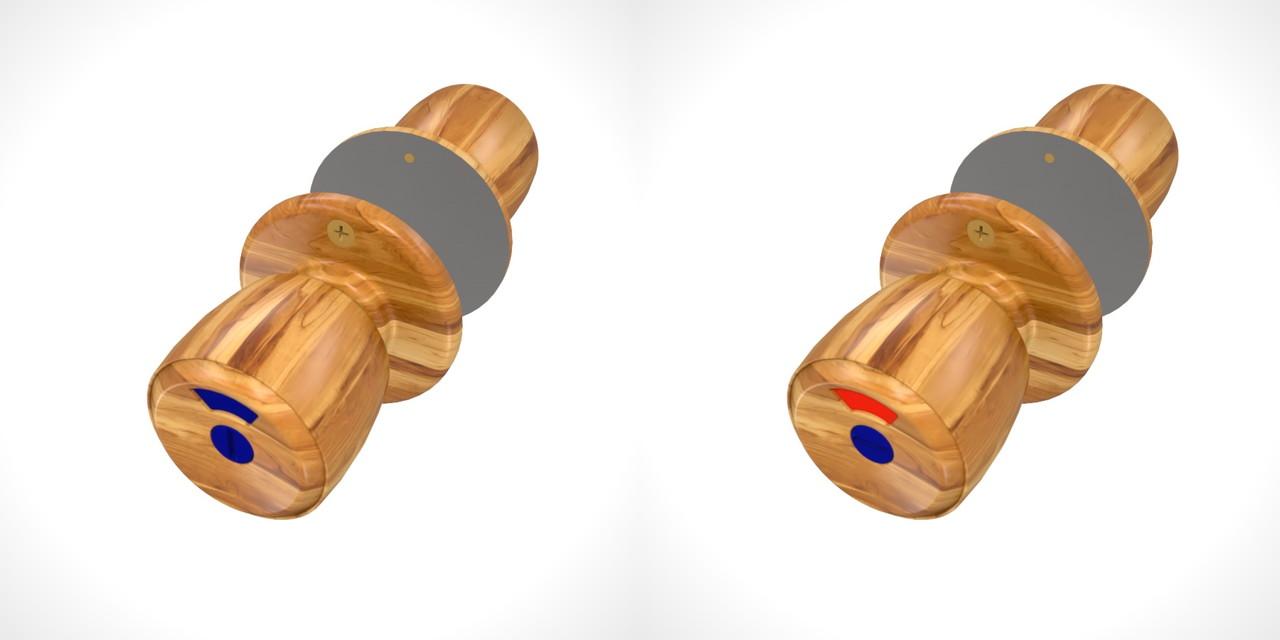 木目の入った 室内トイレのドアノブ(ビスあり)の3DCADデータ丨建築 建具金物 ドアノブ丨無料 商用可能 フリー素材 フリーデータ丨データ形式はformZ ・3ds・objファイルです