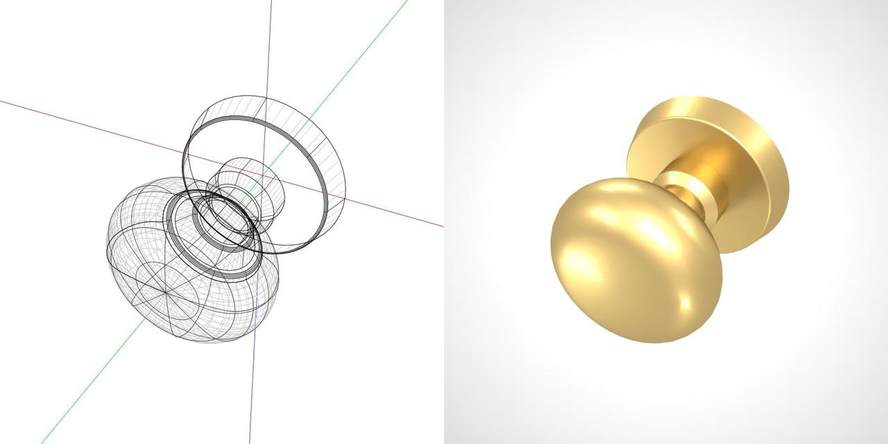 ゴールドのドアノブの3DCADデータ丨建築 建具金物 ドアノブ丨無料 商用可能 フリー素材 フリーデータ丨データ形式はformZ ・3ds・objファイルです|【無料・商用可】3D CADデータ フリーダウンロードサイト