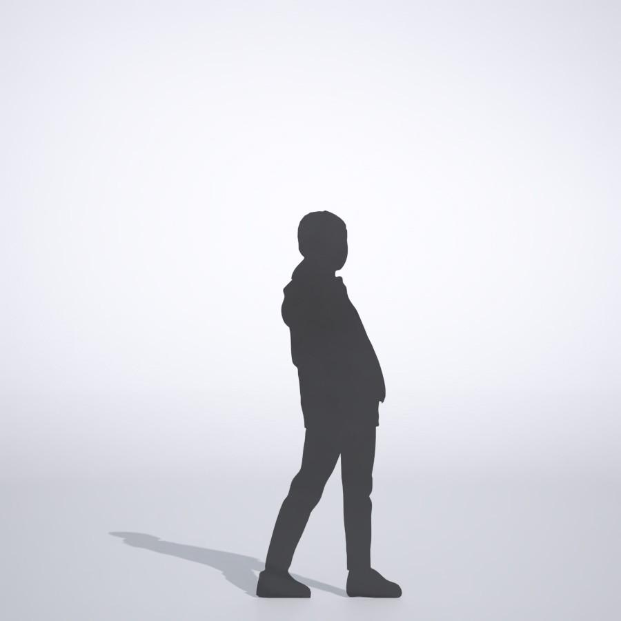 パーカーを着た女の子の3DCAD素材丨シルエット 人間 子供丨無料 商用可能 フリー素材 フリーデータ丨データ形式はformZ ・3ds・objファイルです