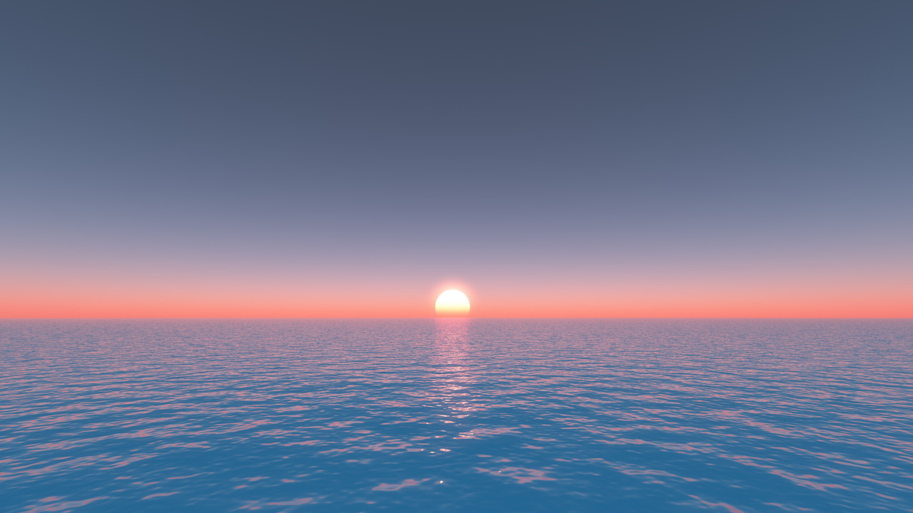 海面からの日の出丨CG 背景画像 海丨無料 商用可能 フリー素材 フリーデータ丨データ形式はjpegです