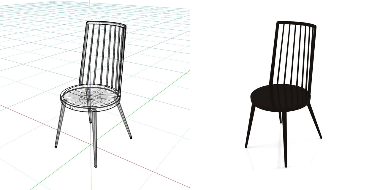 黒色の ダイニングチェアの3DCADデータ丨インテリア 家具 椅子丨無料 商用可能 フリー素材 フリーデータ丨データ形式はformZ ・3ds・objファイルです