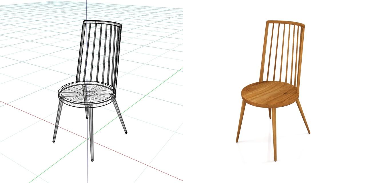 茶色い木製の ダイニングチェアの3DCADデータ丨インテリア 家具 椅子丨無料 商用可能 フリー素材 フリーデータ丨データ形式はformZ ・3ds・objファイルです