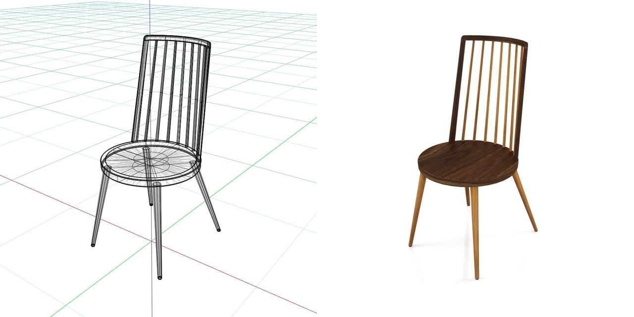 茶色い2色の 木製のダイニングチェアの3DCADデータ丨インテリア 家具 椅子丨無料 商用可能 フリー素材 フリーデータ丨データ形式はformZ ・3ds・objファイルです