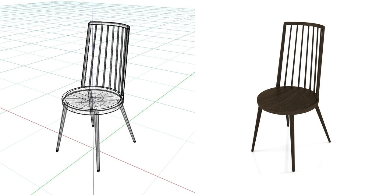黒い 木製のダイニングチェアの3DCADデータ丨インテリア 家具 椅子丨無料 商用可能 フリー素材 フリーデータ丨データ形式はformZ ・3ds・objファイルです