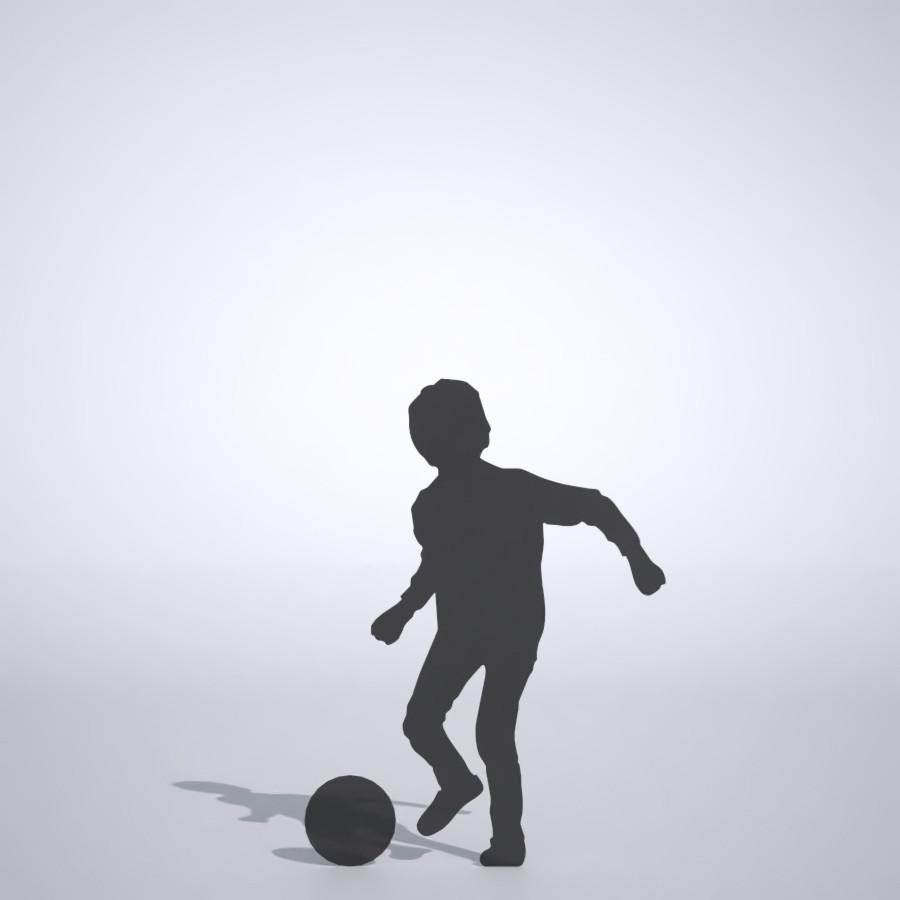 休み時間にサッカーをする男の子の3DCAD素材丨シルエット 人間 子供丨無料 商用可能 フリー素材 フリーデータ丨データ形式はformZ ・3ds・objファイルです