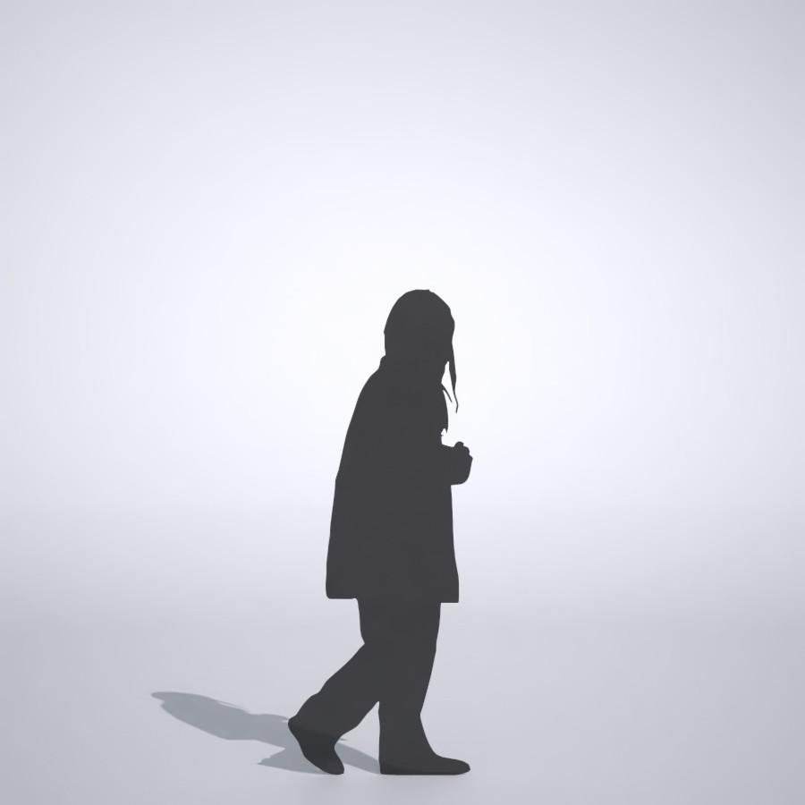 コートを着た女の子の3DCAD素材丨シルエット 人間 子供丨無料 商用可能 フリー素材 フリーデータ丨データ形式はformZ ・3ds・objファイルです
