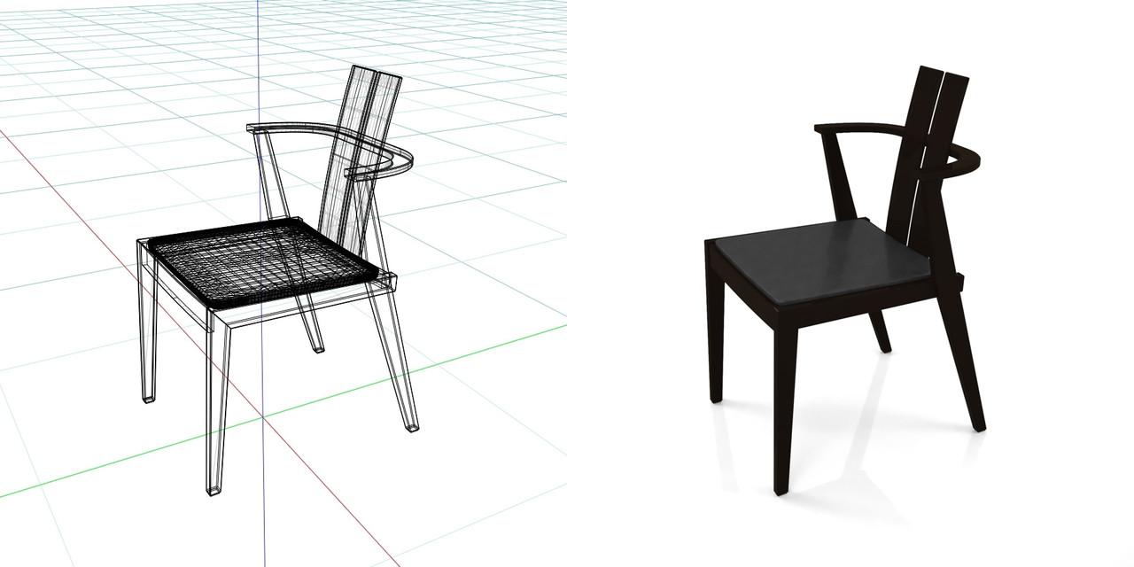 黒色のダイニングチェアの3DCADデータ丨インテリア 家具 椅子丨無料 商用可能 フリー素材 フリーデータ丨データ形式はformZ ・3ds・objファイルです