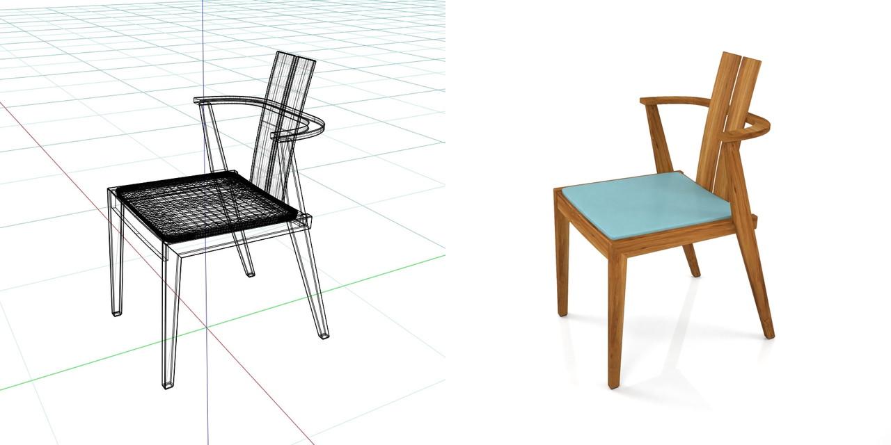 茶色い 木製のダイニングチェアの3DCADデータ丨インテリア 家具 椅子丨無料 商用可能 フリー素材 フリーデータ丨データ形式はformZ ・3ds・objファイルです