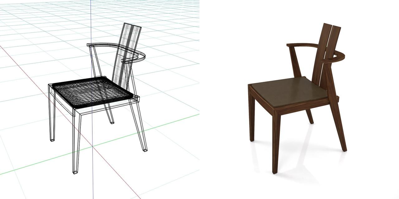 濃い茶色い木製の ダイニングチェアの3DCADデータ丨インテリア 家具 椅子丨無料 商用可能 フリー素材 フリーデータ丨データ形式はformZ ・3ds・objファイルです