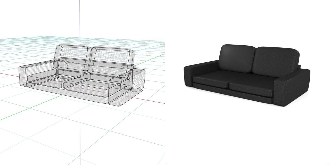 2.5人掛けのフロアーソファ(黒いレザー)の3DCADデータ丨インテリア 家具 ソファ丨無料 商用可能 フリー素材 フリーデータ丨データ形式はformZ ・3ds・objファイルです丨digital-architex.com