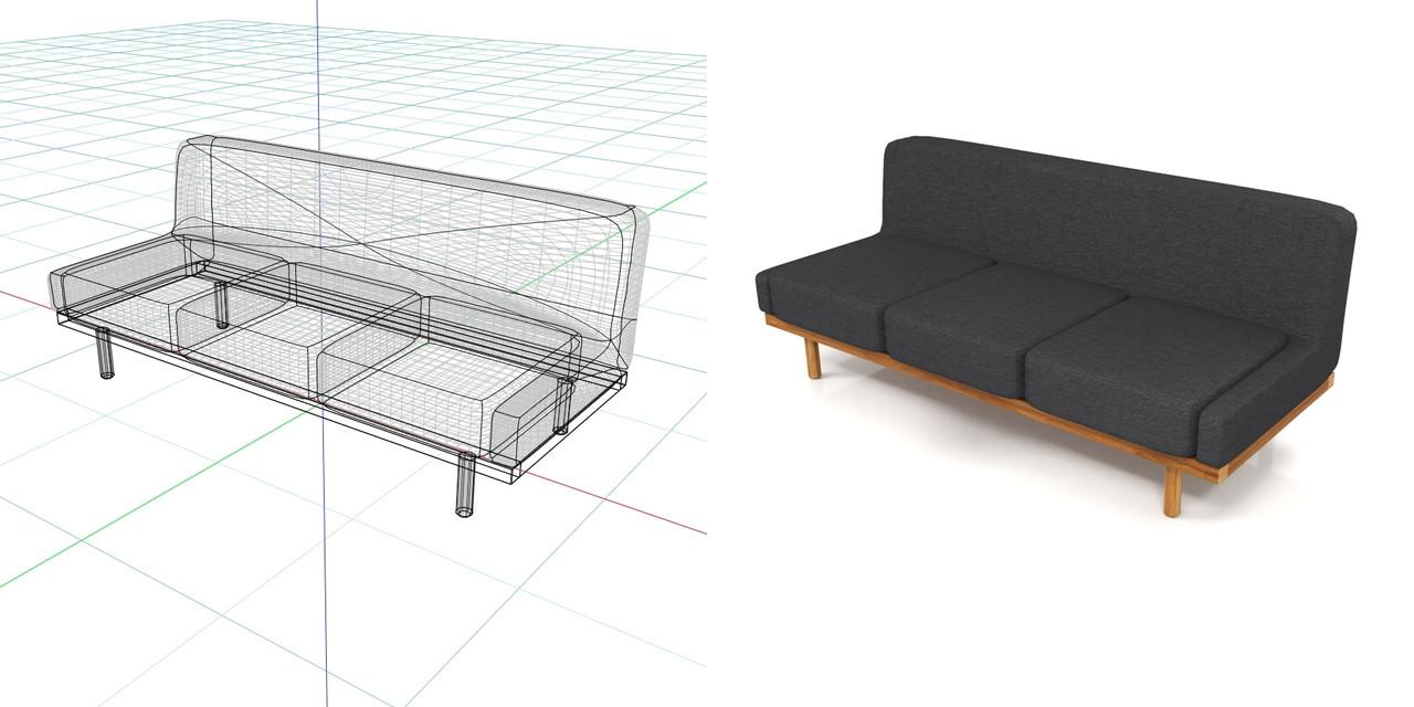 3人掛けのソファ(黒)の3DCADデータ丨インテリア 家具 ソファー丨無料 商用可能 フリー素材 フリーデータ丨データ形式はformZ ・3ds・objファイルです丨digital-architex.com