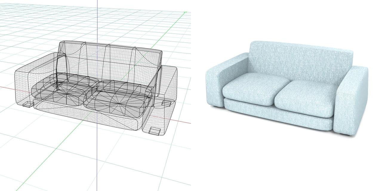 2.5人掛けのローソファ(水色)の3DCADデータ丨インテリア 家具 ソファー丨無料 商用可能 フリー素材 フリーデータ丨データ形式はformZ ・3ds・objファイルです丨digital-architex.com