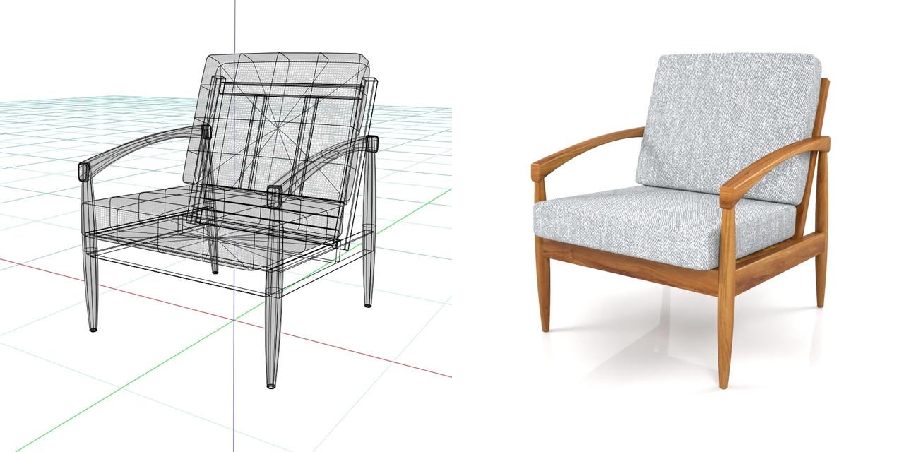 1人掛けのソファ(グレー)の3DCADデータ丨インテリア 家具 ソファー 肘掛け椅子 Armchair丨無料 商用可能 フリー素材 フリーデータ丨データ形式はformZ ・3ds・objファイルです丨digital-architex.com