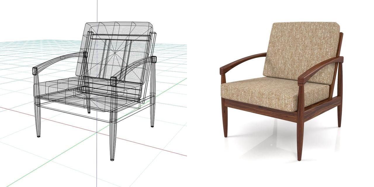 1人掛けのソファ(茶色)の3DCADデータ丨インテリア 家具 ソファー 肘掛け椅子 Armchair丨無料 商用可能 フリー素材 フリーデータ丨データ形式はformZ ・3ds・objファイルです丨digital-architex.com