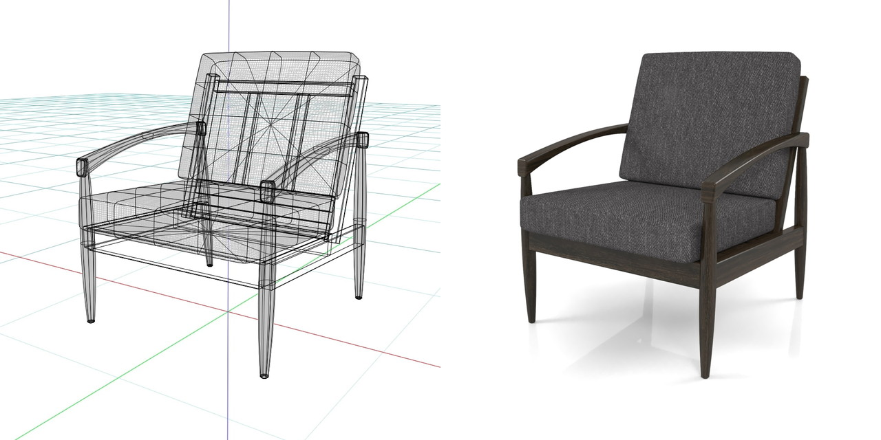 1人掛けのソファ(黒)の3DCADデータ丨インテリア 家具 ソファー 肘掛け椅子 Armchair丨無料 商用可能 フリー素材 フリーデータ丨データ形式はformZ ・3ds・objファイルです丨digital-architex.com
