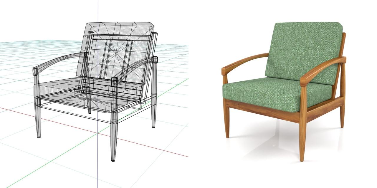 1人掛けのソファ(緑色)の3DCADデータ丨インテリア 家具 ソファー 肘掛け椅子 Armchair丨無料 商用可能 フリー素材 フリーデータ丨データ形式はformZ ・3ds・objファイルです丨digital-architex.com