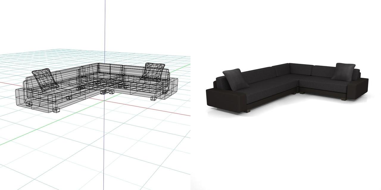 コーナーソファのセット(黒)の3DCADデータ│インテリア 家具 ソファー│フリー素材 フリーデータ│データ形式はformZ ・3ds・objファイルです│【無料・商用可】3D CADデータ フリーダウンロードサイト│digital-architex