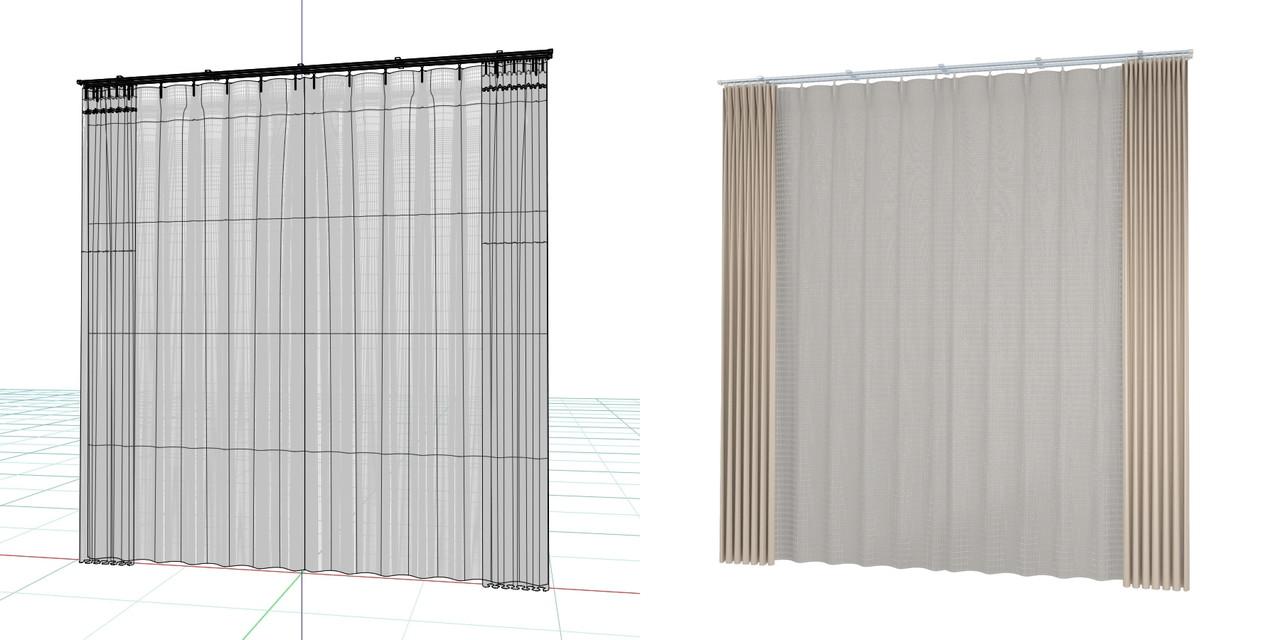 開いたカーテンと閉じたレースのカーテン(ベージュ)の3DCADデータ│遮光カーテン レースのカーテン│シンプルなカーテンレール│3d cad データ フリー 無料 商用可能 建築パース フリー素材 formZ 3D 3ds obj  インテリア interior curtain