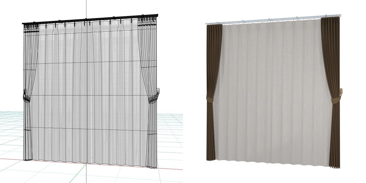束ねたカーテンと閉じたレースのカーテン・房掛けあり(ブラウン)の3DCADデータ│遮光カーテン レースのカーテン│シンプルなカーテンレール│3d cad データ フリー 無料 商用可能 建築パース フリー素材 formZ 3D 3ds obj  インテリア interior curtain