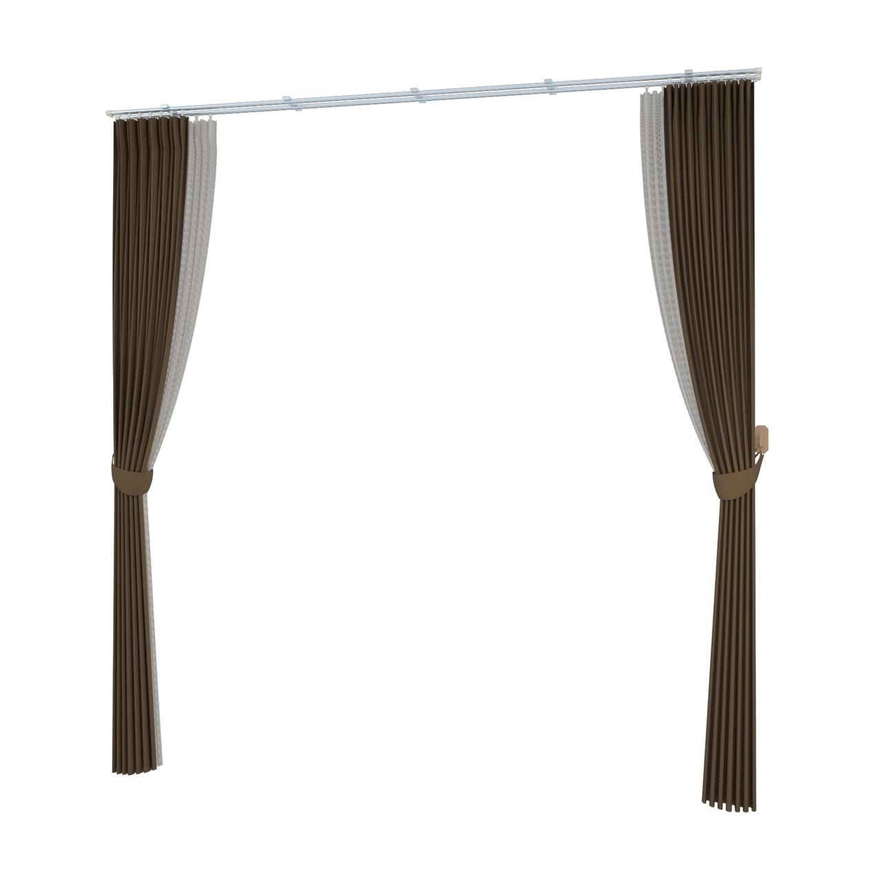 束ねたカーテン・房掛けあり(ブラウン)の3DCADデータ│遮光カーテン レースのカーテン│シンプルなカーテンレール│3d cad データ フリー 無料 商用可能 建築パース フリー素材 formZ 3D 3ds obj インテリア interior curtain