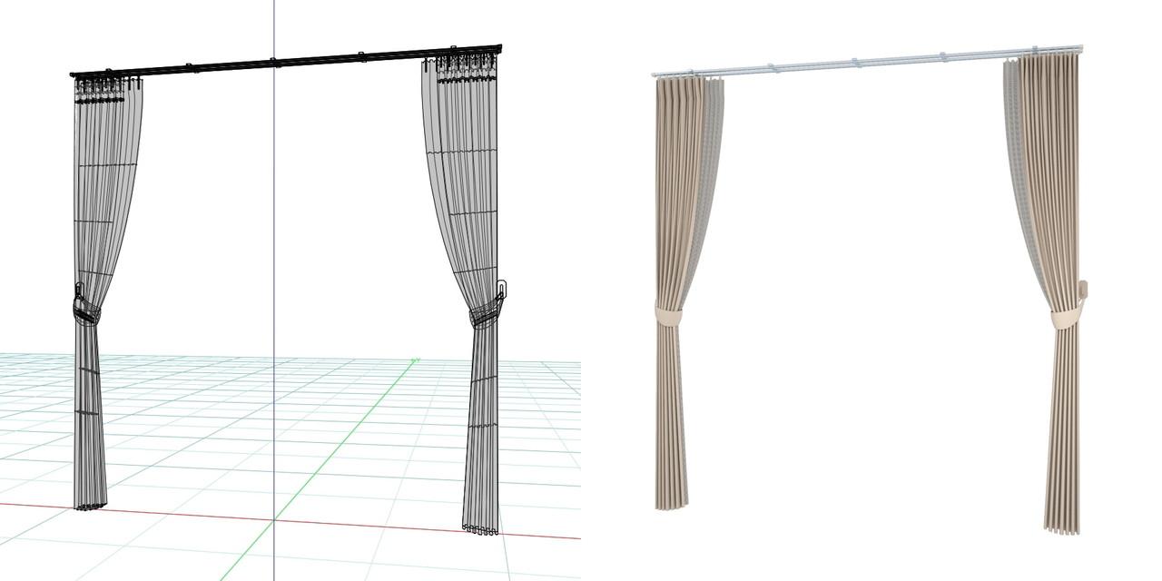束ねたカーテン・房掛けあり(ベージュ)の3DCADデータ│遮光カーテン レースのカーテン│シンプルなカーテンレール│3d cad データ フリー 無料 商用可能 建築パース フリー素材 formZ 3D 3ds obj  インテリア interior curtain