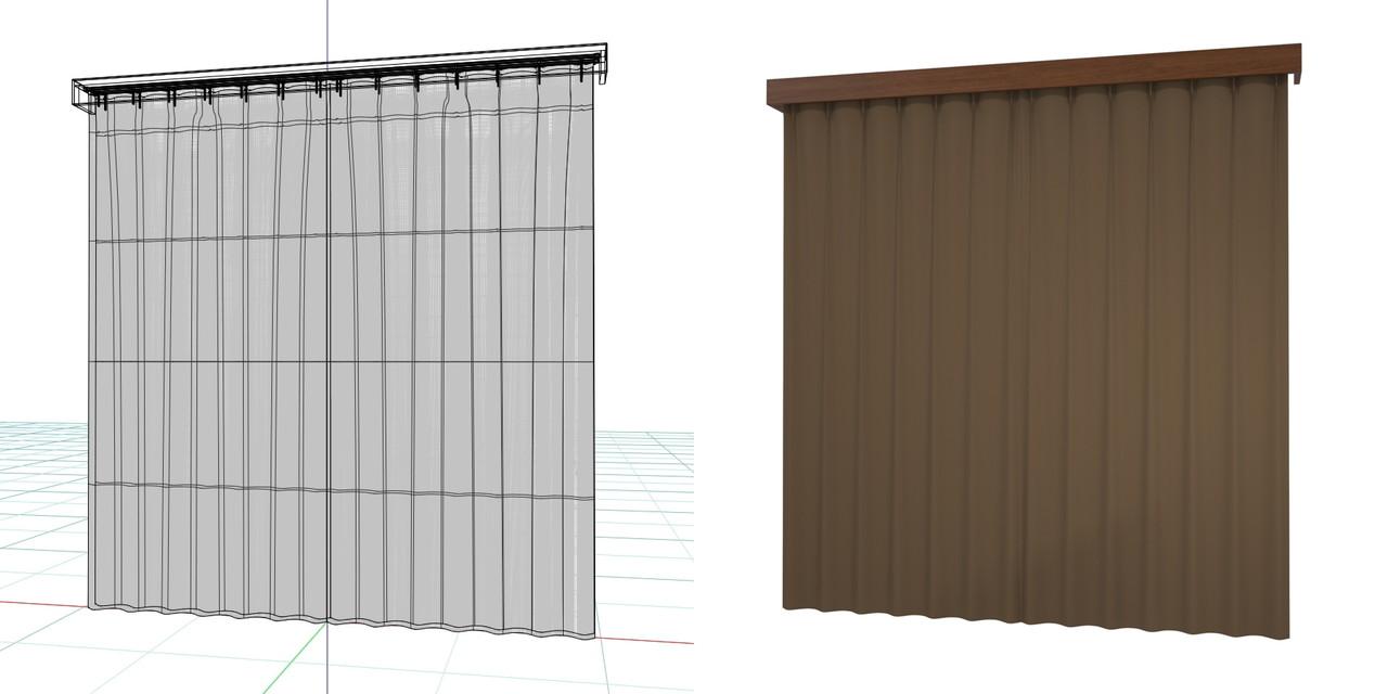 閉じたカーテンとレースのカーテン・カーテンボックス(ブラウン)の3DCADデータ│遮光カーテン レースのカーテン│3d cad データ フリー 無料 商用可能 建築パース フリー素材 formZ 3D 3ds obj  インテリア interior curtain