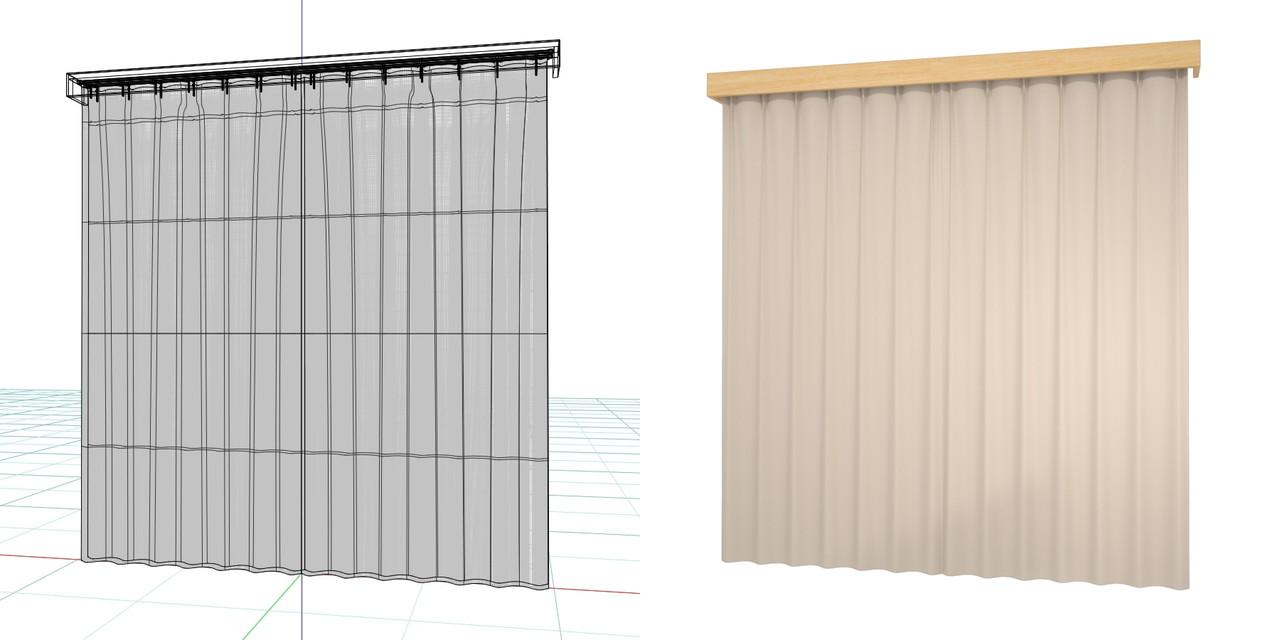 閉じたカーテンとレースのカーテン・カーテンボックス(ベージュ)の3DCADデータ│遮光カーテン レースのカーテン│3d cad データ フリー 無料 商用可能 建築パース フリー素材 formZ 3D 3ds obj  インテリア interior curtain