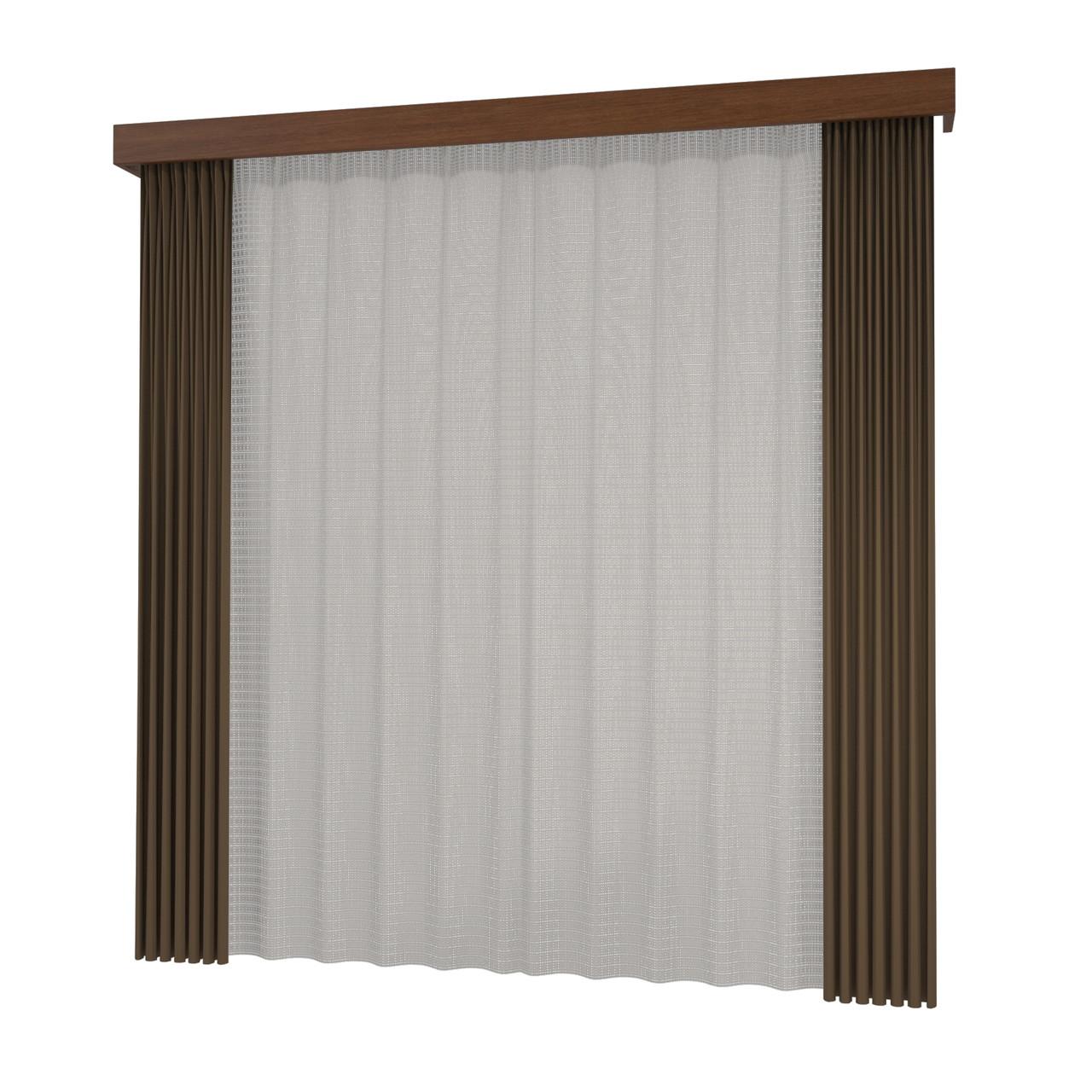 開いたカーテンと閉じたレースのカーテン・カーテンボックス(ブラウン)の3DCADデータ│遮光カーテン レースのカーテン│3d cad データ フリー 無料 商用可能 建築パース フリー素材 formZ 3D 3ds obj インテリア interior curtain
