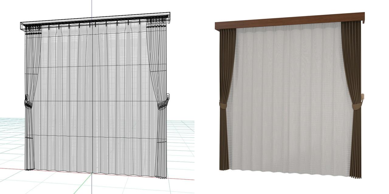 束ねたカーテンと閉じたレースのカーテン・房掛けあり(ブラウン)・カーテンボックスの3DCADデータ│遮光カーテン レースのカーテン│3d cad データ フリー 無料 商用可能 建築パース フリー素材 formZ 3D 3ds obj  インテリア interior curtain
