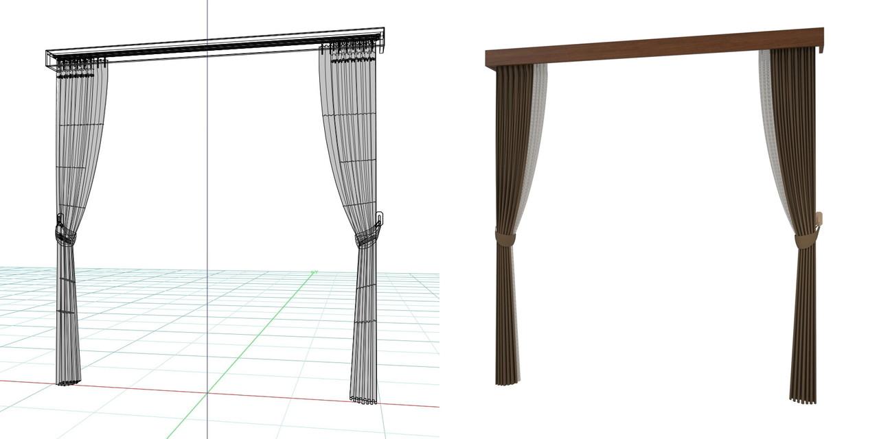 束ねたカーテン・房掛けあり(ブラウン)・カーテンボックスの3DCADデータ│遮光カーテン レースのカーテン│3d cad データ フリー 無料 商用可能 建築パース フリー素材 formZ 3D 3ds obj  インテリア interior curtain