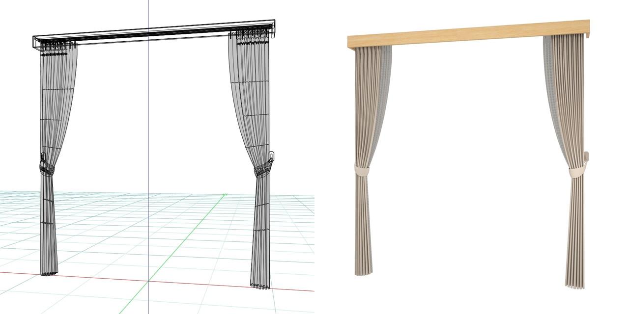 束ねたカーテン・房掛けあり(ベージュ)・カーテンボックスの3DCADデータ│遮光カーテン レースのカーテン│3d cad データ フリー 無料 商用可能 建築パース フリー素材 formZ 3D 3ds obj  インテリア interior curtain