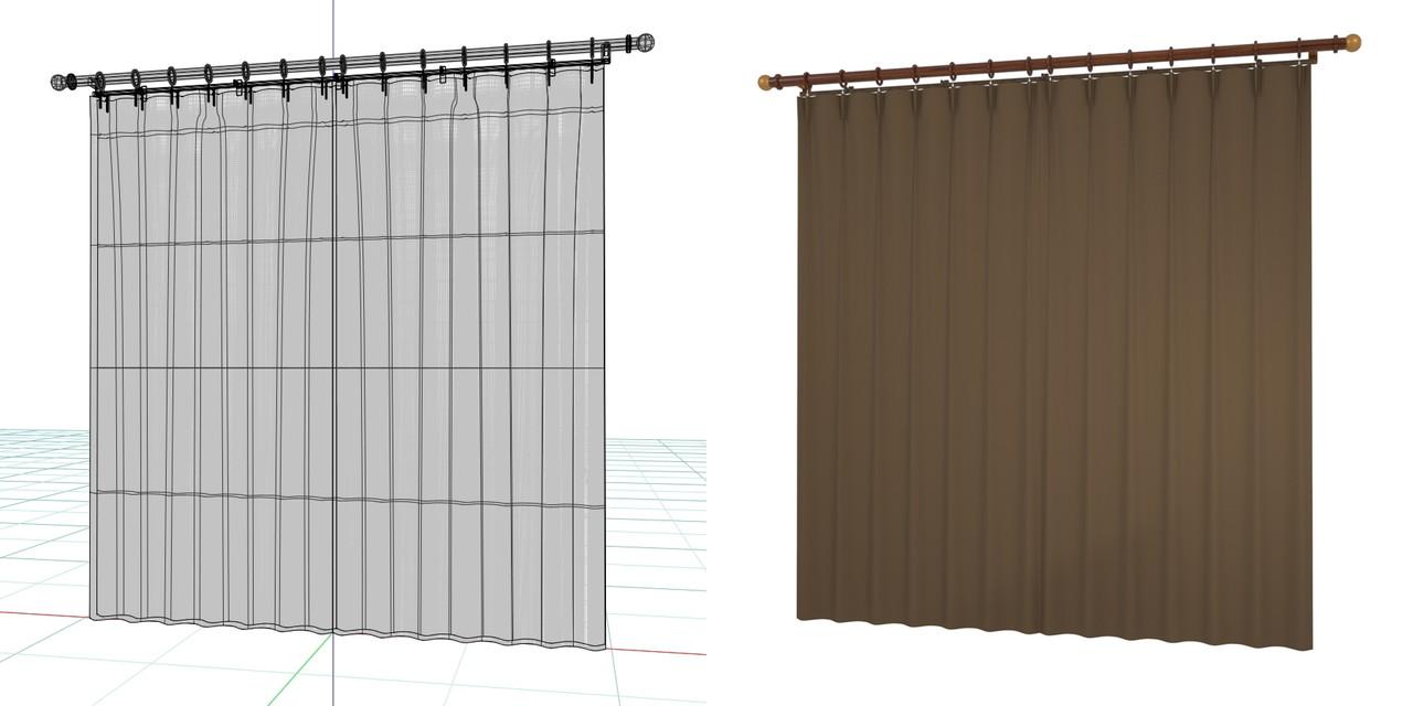 閉じたカーテンとレースのカーテン・装飾レール(ブラウン)の3DCADデータ│遮光カーテン レースのカーテン│3d cad データ フリー 無料 商用可能 建築パース フリー素材 formZ 3D 3ds obj  インテリア interior curtain