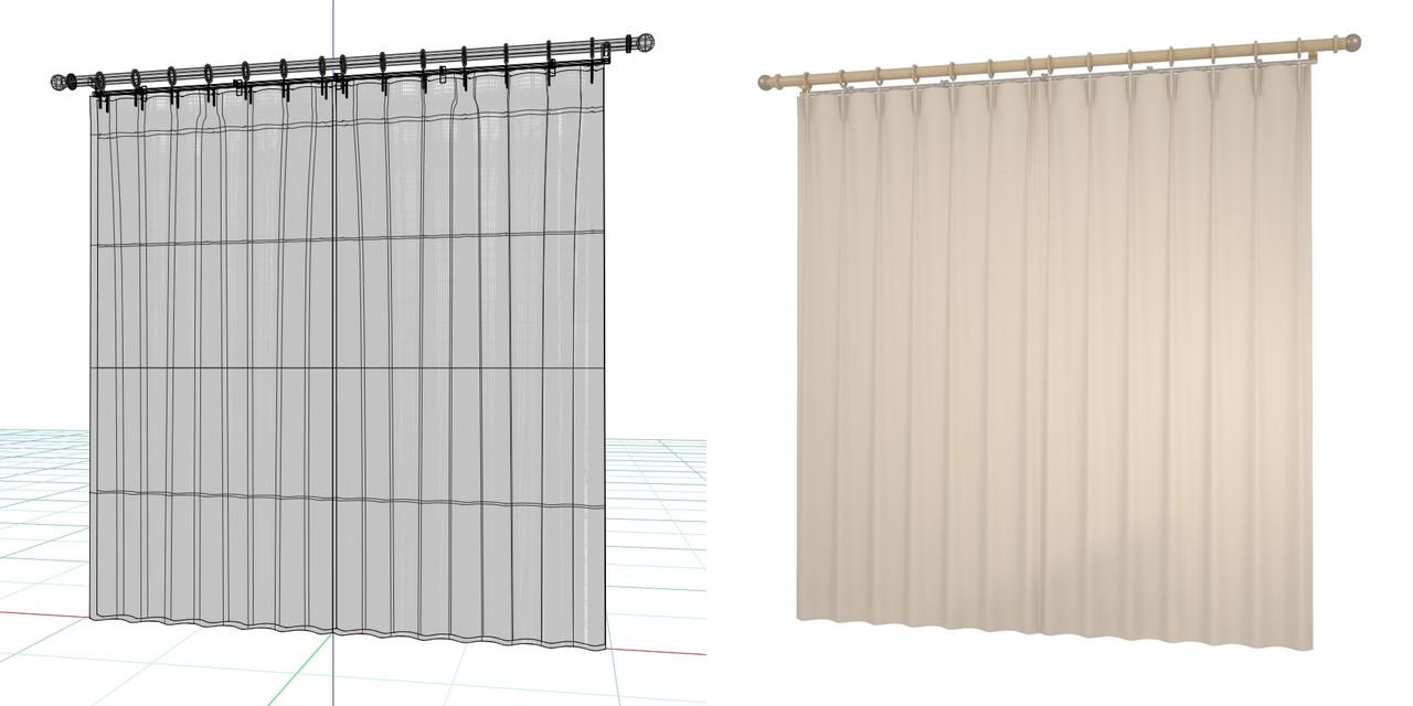 閉じたカーテンとレースのカーテン・装飾レール(ベージュ)の3DCADデータ│遮光カーテン レースのカーテン│3d cad データ フリー 無料 商用可能 建築パース フリー素材 formZ 3D 3ds obj  インテリア interior curtain