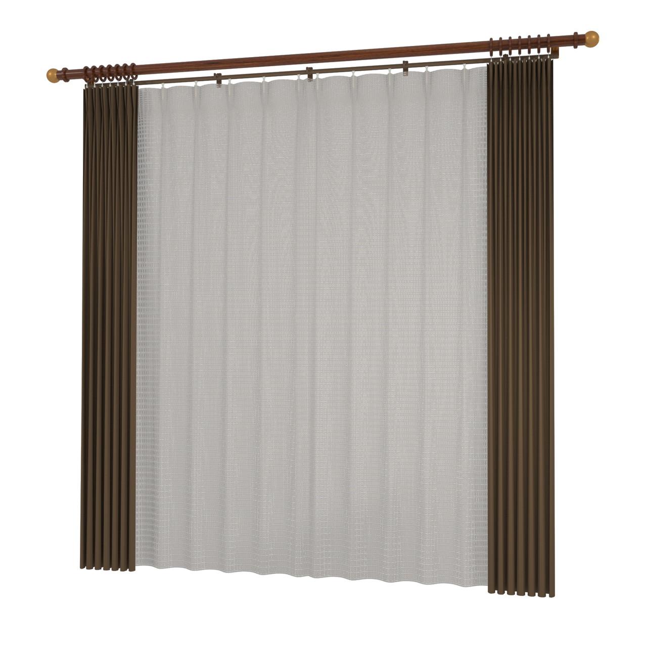 開いたカーテンと閉じたレースのカーテン・装飾レール(ブラウン)の3DCADデータ│遮光カーテン レースのカーテン│3d cad データ フリー 無料 商用可能 建築パース フリー素材 formZ 3D 3ds obj インテリア interior curtain
