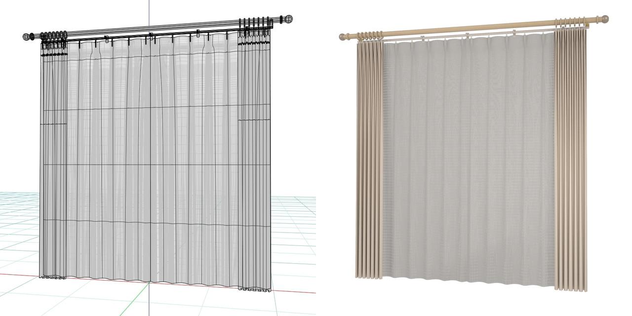 開いたカーテンと閉じたレースのカーテン・装飾レール(ベージュ)の3DCADデータ│遮光カーテン レースのカーテン│3d cad データ フリー 無料 商用可能 建築パース フリー素材 formZ 3D 3ds obj  インテリア interior curtain