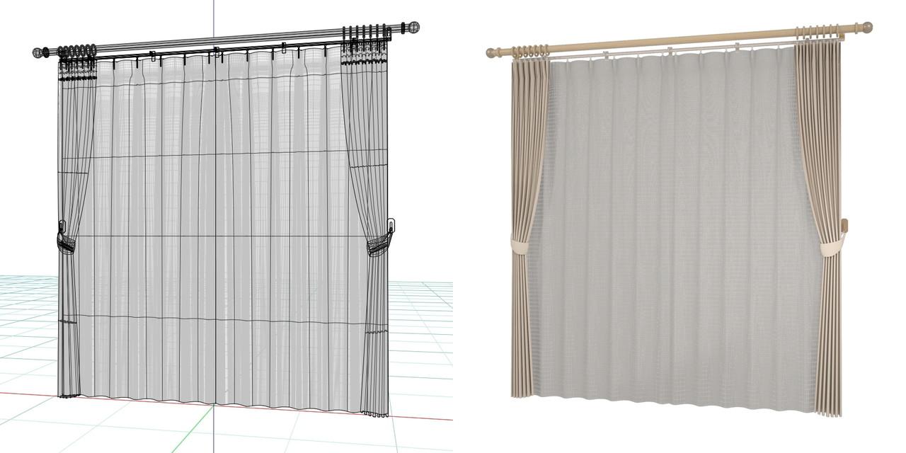束ねたカーテンと閉じたレースのカーテン・房掛けあり(ブラウン)・装飾レールの3DCADデータ│遮光カーテン レースのカーテン│3d cad データ フリー 無料 商用可能 建築パース フリー素材 formZ 3D 3ds obj  インテリア interior curtain
