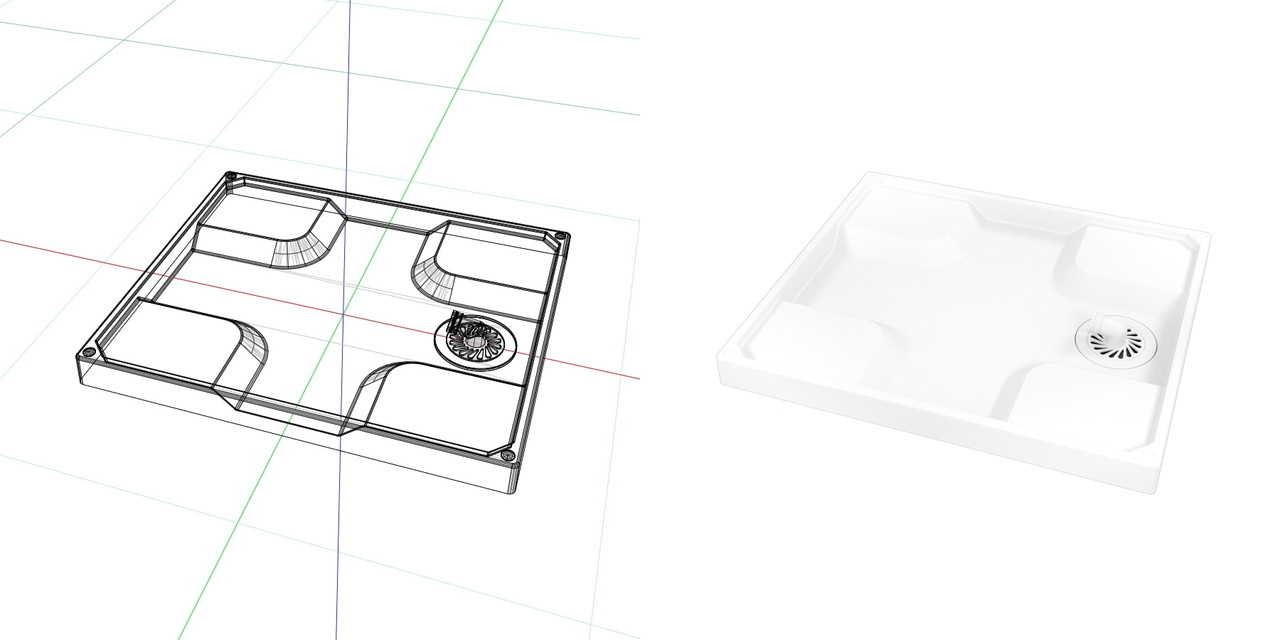 740mm×640mmの 洗濯パン(ホワイト)目皿 排水トラップ部 表面のみ│3d cad データ フリー 無料 商用可能 建築パース フリー素材 formZ 3D 3ds obj│インテリア 洗面脱衣室 洗濯パン interior laundry│digital-architex.com