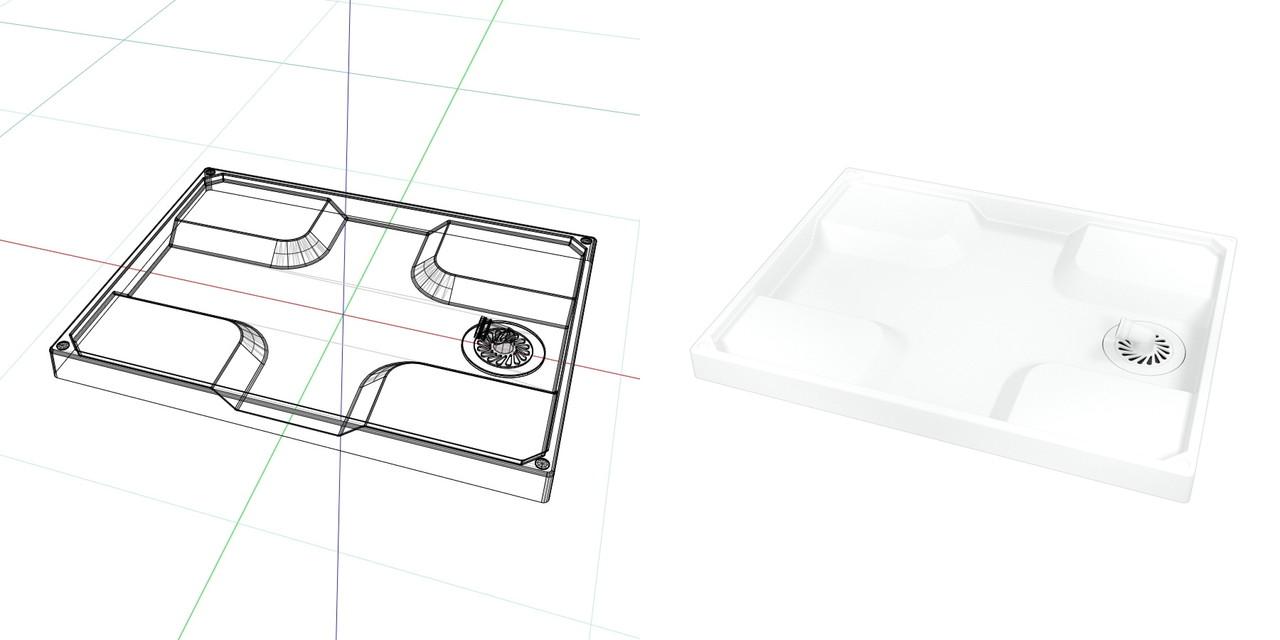 840mm×640mmの 洗濯パン(ホワイト)目皿 排水トラップ部 表面のみ│3d cad データ フリー 無料 商用可能 建築パース フリー素材 formZ 3D 3ds obj│インテリア 洗面脱衣室 洗濯パン interior laundry│digital-architex.com