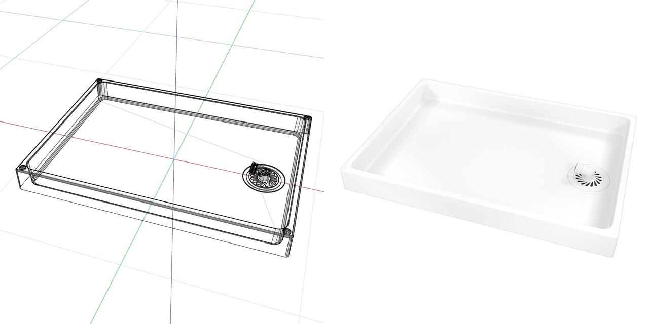 900mm×640mmの 洗濯パン(ホワイト)目皿 排水トラップ部 表面のみ│3d cad データ フリー 無料 商用可能 建築パース フリー素材 formZ 3D 3ds obj│インテリア 洗面脱衣室 洗濯パン interior laundry│digital-architex.com