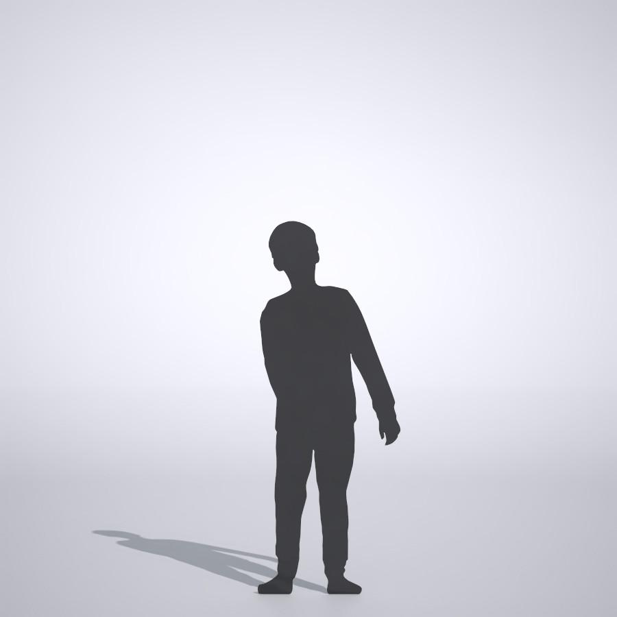 薄手のロングTシャツを着て 長ズボンを履いている男の子の3DCAD素材丨シルエット 人間 子供丨無料 商用可能 フリー素材 フリーデータ丨データ形式はformZ ・3ds・objファイルです