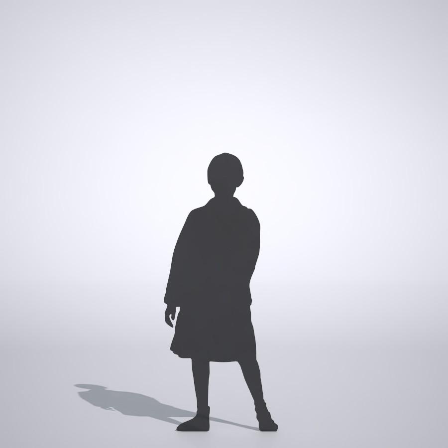 スカートを履いた女の子の3DCAD素材丨シルエット 人間 子供丨無料 商用可能 フリー素材 フリーデータ丨データ形式はformZ ・3ds・objファイルです