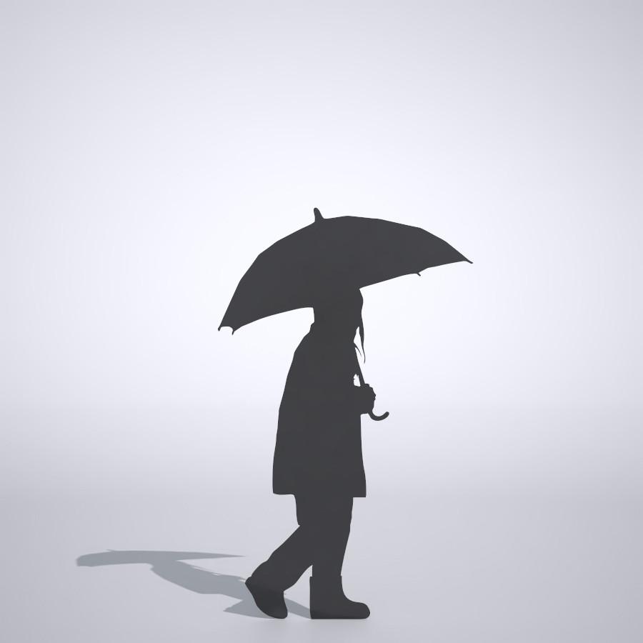 傘をさして歩く女の子の3DCAD素材丨シルエット 人間 子供丨無料 商用可能 フリー素材 フリーデータ丨データ形式はformZ ・3ds・objファイルです