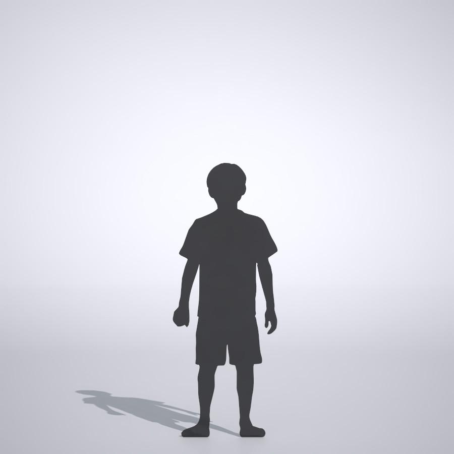 拳を握ったTシャツを着た男の子の3DCAD素材丨シルエット 人間 子供丨無料 商用可能 フリー素材 フリーデータ丨データ形式はformZ ・3ds・objファイルです