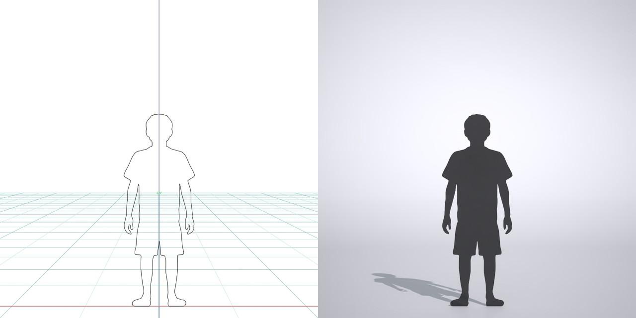 Tシャツを着たハーフパンツ姿の男の子の3DCAD素材丨シルエット 人間 子供丨無料 商用可能 フリー素材 フリーデータ丨データ形式はformZ ・3ds・objファイルです