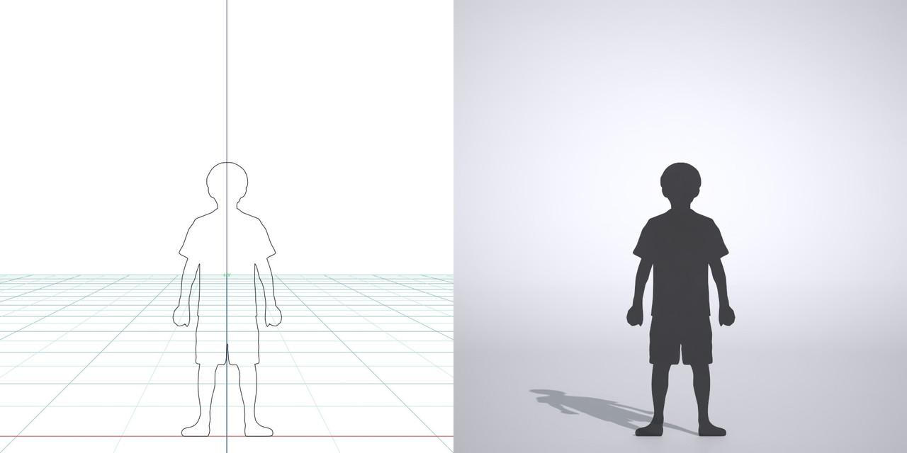 両手の拳を握って立つ男の子の3DCAD素材丨シルエット 人間 子供丨無料 商用可能 フリー素材 フリーデータ丨データ形式はformZ ・3ds・objファイルです