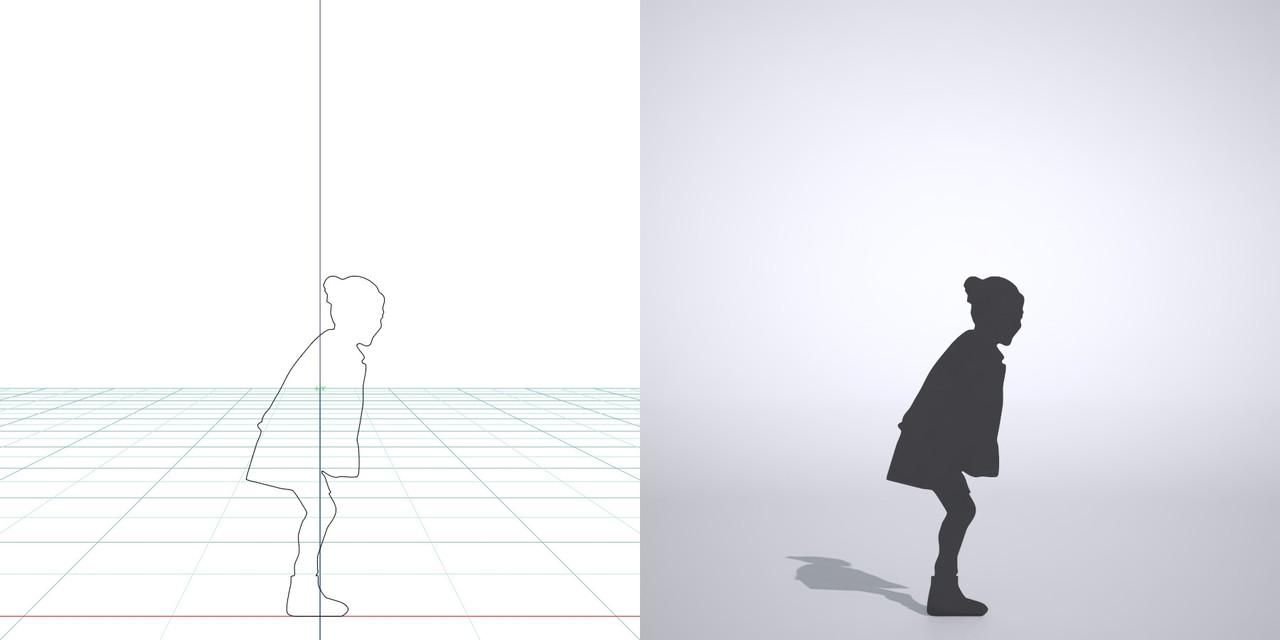 毛糸のジャンバーを着て スカートを履いた女の子の3DCAD素材丨シルエット 人間 子供丨無料 商用可能 フリー素材 フリーデータ丨データ形式はformZ ・3ds・objファイルです