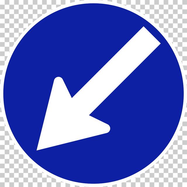 指定方向外進行禁止の 規制標識│左下矢印 マーク 日本の道路標識 切り抜き画像 イラスト フリー データ ダウンロード無料 商用可能 フリー素材 ダウンロード Free download 2D illustration JPEG png traffic signs│digital-architex.com